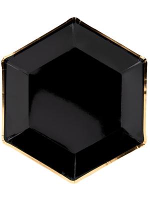 6 gab, Papīra šķīvīši Jaungada vakars, melni ar zeltu, 23 cm