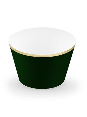 6 gab, Kūciņu ietinamais papīrs, Elegantas kāzas, zaļās pudeles krāsa ar zeltu, 4.8 x 7.6 x 4.6 cm