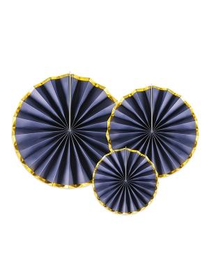 3 gab, Dekoratīvās rozetes, tumši zilas ar zeltu, 23, 32, 40 cm