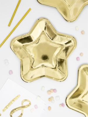 6 gab, Papīra šķīvīši Zvaigzne, zelta, 23 cm