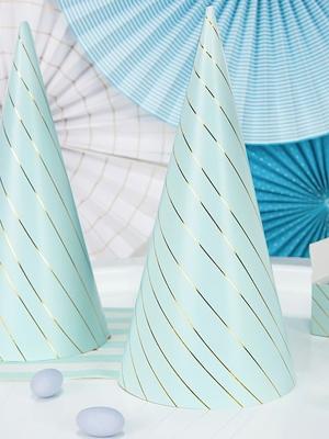 6 gab, Papīra cepures, gaiši zilas, 9.5 х 21 cm