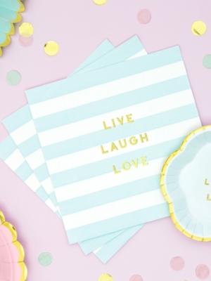 20 gab, Salvetes Live Laugh Love, baltas ar gaiši zilu, 33 x 33 cm