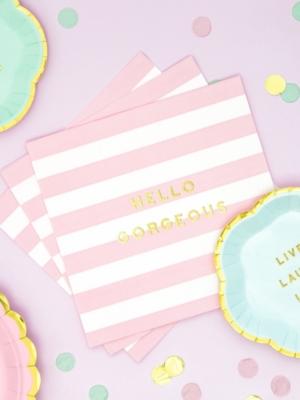 20 gab, Salvetes Hello Gorgeous, baltas ar gaiši rozā, 33 x 33 cm