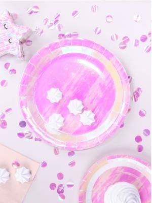 6 gab, Papīra šķīvīši, varavīksnes krāsās, 23  cm