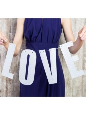 Baneris Love, sudraba, 21 x 55 cm