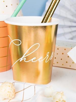 6 gab, Papīra glazītes -Cheers!, zelta, 260 ml