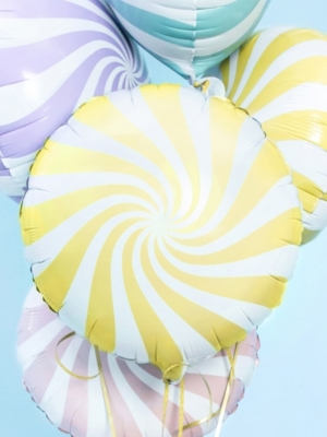 Apaļa konfekte, balta ar gaiši dzelteno, 45 cm
