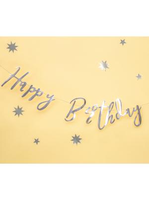 Baneris Happy Birthday, sudraba, 16.5 x 62 cm