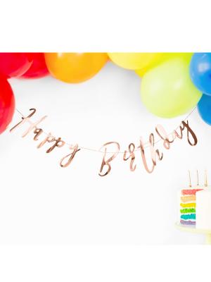 Baneris Happy Birthday, rozā zelts, 16.5 x 62 cm
