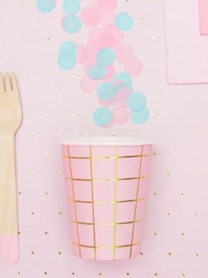 6 gab, glazītes Režģis, gaiši rozā ar zeltu, 200 ml