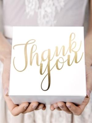 10 gab, Tortes kastīte Paldies, balta ar zeltu, 14 x 8.5 x 14 cm