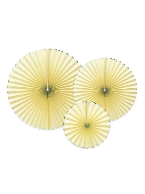 3 gab, Dekoratīvas rozetes, gaiši dzeltenas ar zeltu, 23, 32, 40 cm