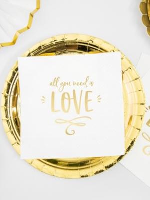 20 pcs, Salvetes Mīlestība ir viss, kas jums vajadzīgs!, baltas ar zeltu, 33 x 33 cm