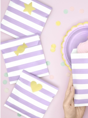 6 gab, Papīra maisiņi, balti ar gaiši violetu, 13 x 14 cm