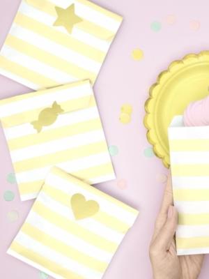 6 gab, Papīra maisiņi, balti ar gaiši dzeltenu, 13 x 14 cm