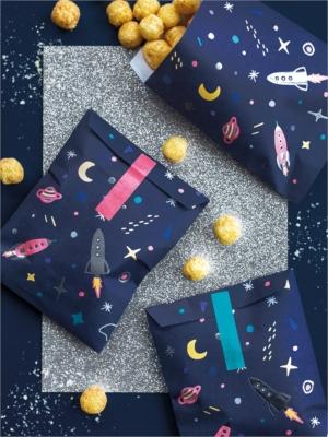 6 gab, Papīra maisiņi Kosmoss, tumši zili, 13 x 14 cm