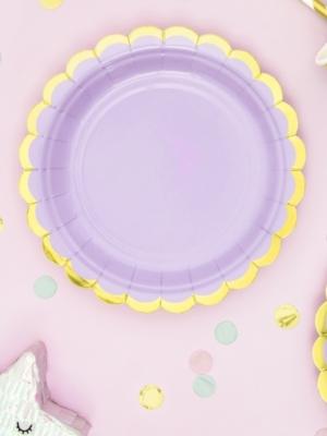 6 gab, šķīvīši, gaiši violeti ar zeltu, 18 cm