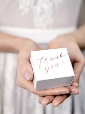 10 gab, Kastītes, baltas ar rozā zelta uzrakstu Paldies tev, 6 x 3.5 x 5.5 cm