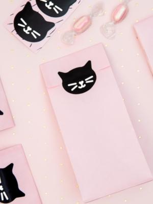 6 gab, Papīra maisiņi un uzlīmes Kaķis, rozā, 8 x 18 x 6 cm