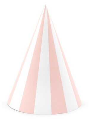 6 gab, Papīra cepures svītrainas, gaiši rozā ar baltu, 10 х 16 cm