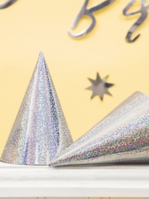 6 gab, Papīra cepures hologrāfiskās, sudraba, 10 х 17 cm