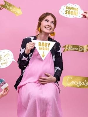6 gab, Foto atribūtika Baby shower, zelta
