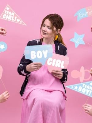 11 gab, Foto atribūtika Gender reveal party, rozā un zils