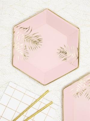 6 gab, Šķīvīši ar lapām, gaiši roza, 23 cm