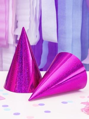 6 gab, Papīra cepures hologrāfiskās, tumši rozā, 10 х 17 cm