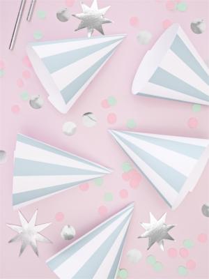 6 gab, Papīra cepures svītrainas, gaiši zilas ar baltu, 10 х 16 cm