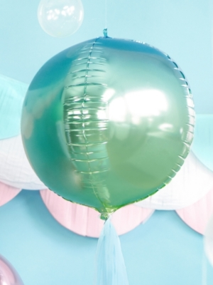 Folijas balons bumba - Ombre, zils ar zaļu, 35 cm