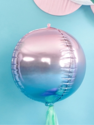 Folijas balons bumba - Ombre, violets ar zilu, 35 cm