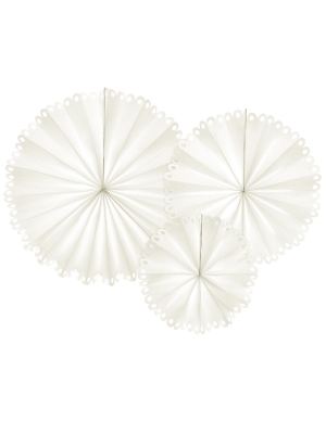3 gab, Dekoratīvās rozetes, baltas, 25 cm, 34 cm, 42.5 cm