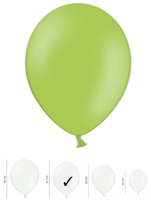 50 gb, Pasteļtoņu baloni, spilgti zaļi, 27 cm