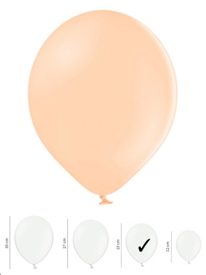 100 gb, Pasteļtoņa baloni, gaišs persiks, 23 cm
