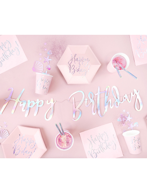 Baneris Happy Birthday, varavīksnes, 16.5 x 62 cm