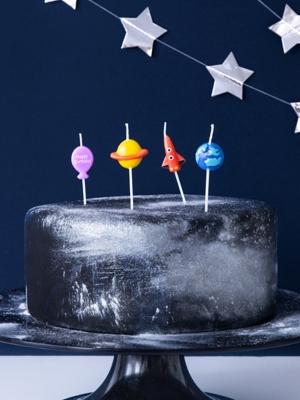 4 gab, Kūkas sveces - Kosmoss, 2-3 cm