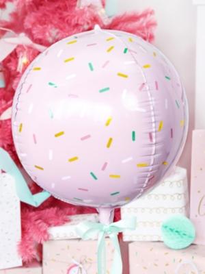 Folijas balons - bumba, gaiši rozā ar rakstu, 40 cm