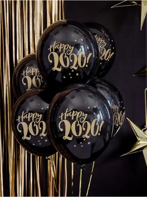 6 gab, Baloni Happy 2020!, melni, 30 cm
