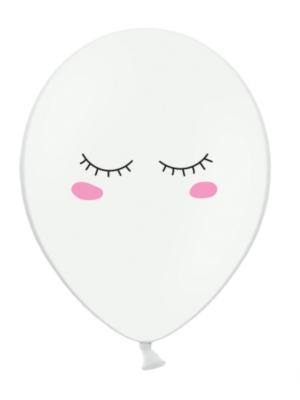 6 gab, Baloni ar smaidiņu, balti, 30 cm