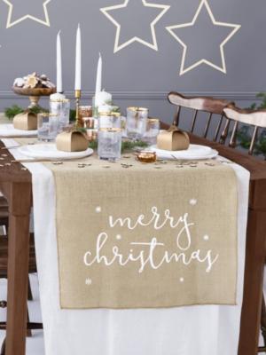 Galda lenta Merry Christmas, džutas, 50 x 250 cm