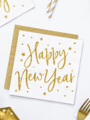 20 gab, Salvetes Happy New Year, baltas ar zelta apdruku, 33x33 cm
