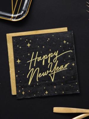 20 gab, Salvetes Happy New Year, melnas ar zeltu, 33x33 cm
