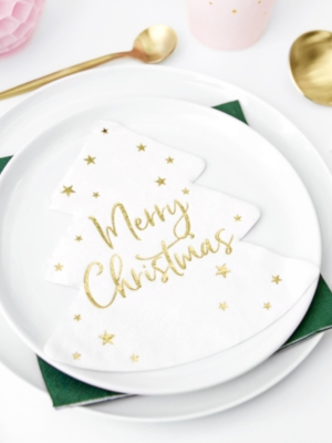 20 gab, Salvetes Merry Christmas, baltas ar zeltu, 30.5 x 32.5 cm