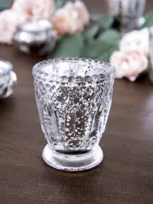 Stikla svečturis, sudraba, 8 cm