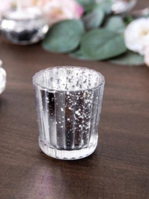 Stikla svečturis, sudraba, 6 cm