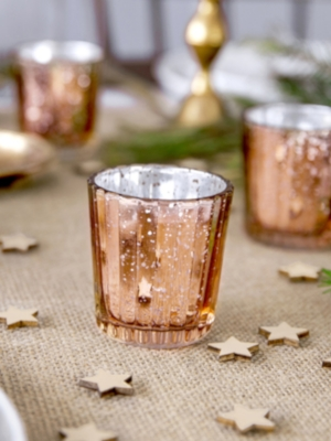 Stikla svečturis, rozā zelts, 6 cm