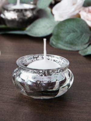 Stikla svečturis, sudraba, 3 cm