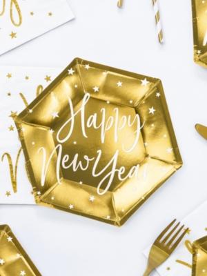 6 gab, Šķīvji - Happy New Year, zelta, 20 cm
