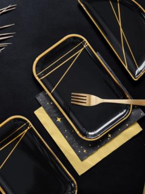 6 gab, Šķīvji, melni ar zeltu, 22 x 13.5 cm